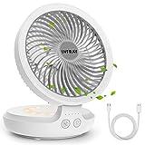 Tischventilator, infray USB Tischventilator mit Lampe Oszillation 120° mit 4000mAh Akku, Ventilator...